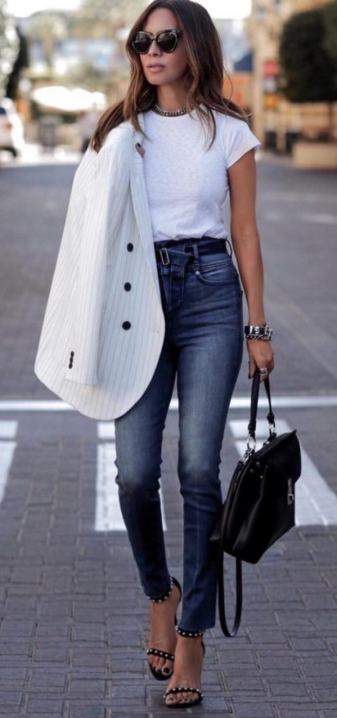 white t-shirt - fun spring outfit ideas