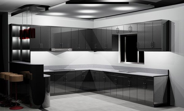 sleek black kitchen cabinets