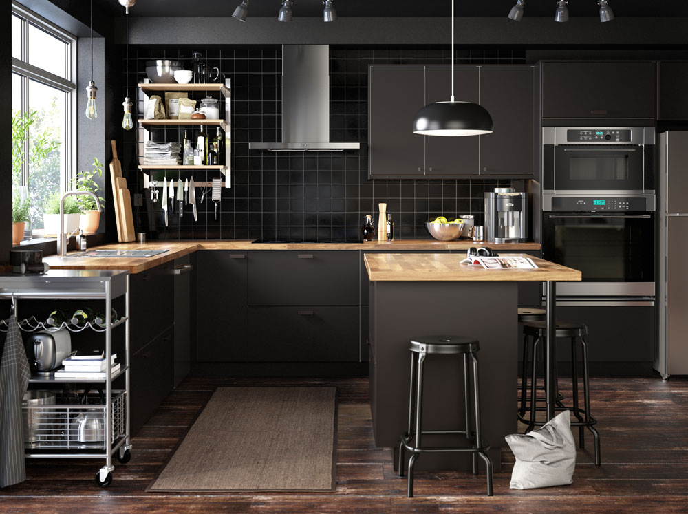 refined black kitchen cabinets
