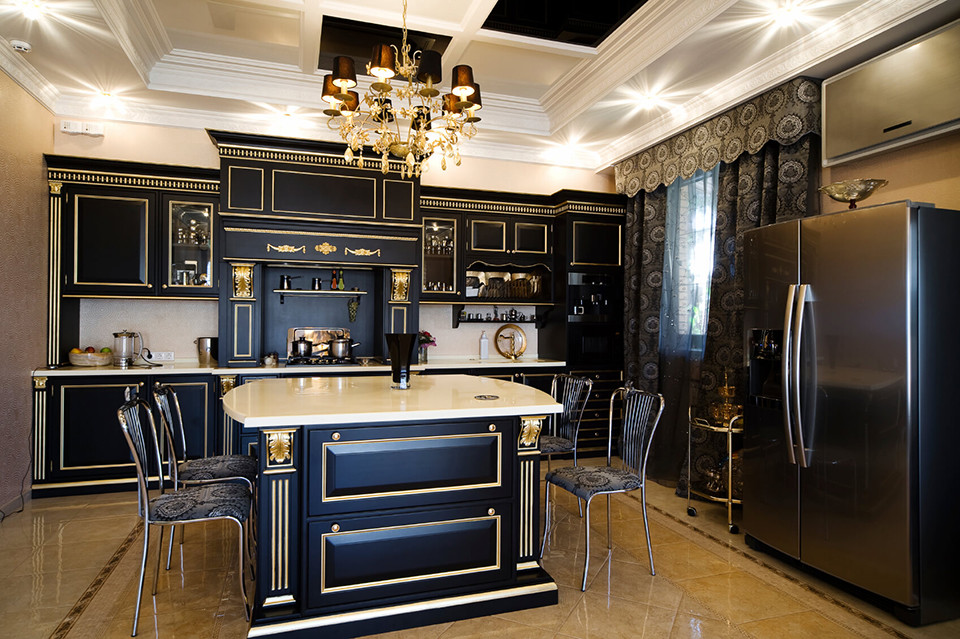 elegant black kitchen cabinets