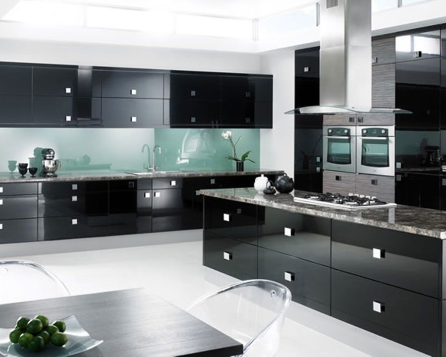 stylish black kitchen cabinets