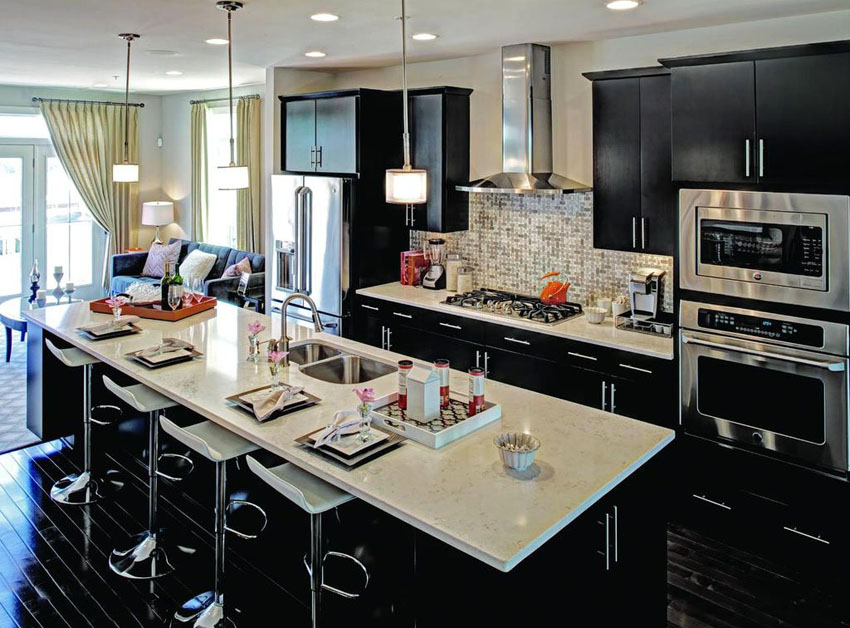 sophisticated black kitchen cabinets