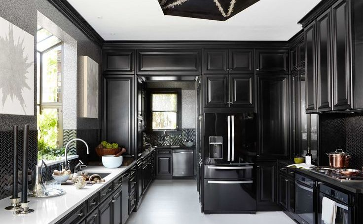 lovely black kitchen cabinets