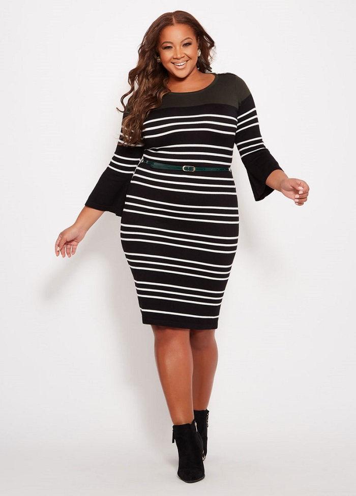 Plus size outfit ideas stripes dress