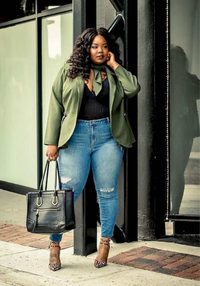 Plus size outfit ideas High waist skinny jeans