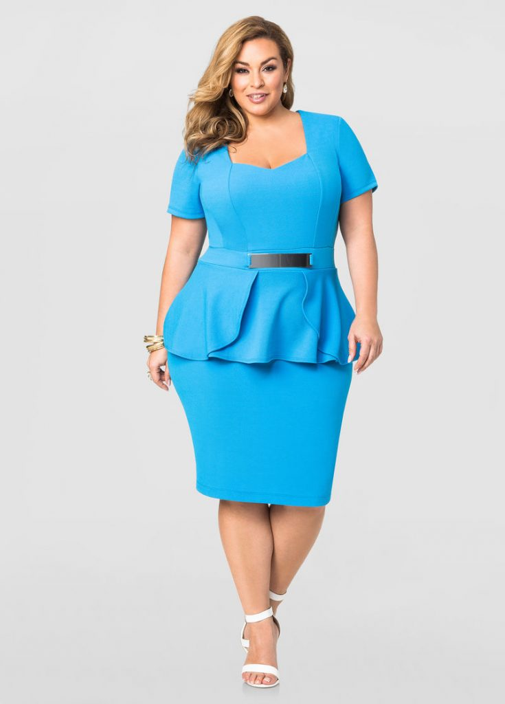 Plus size outfit ideas Peplum dress